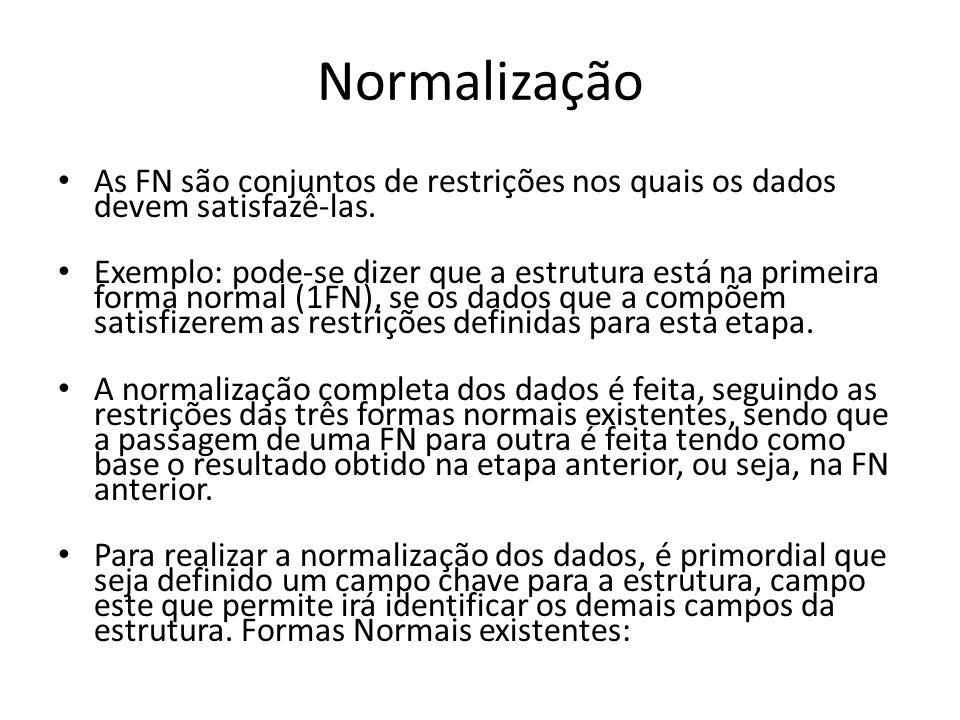Normalização As FN são conjuntos de restrições nos quais os dados devem satisfazê-las. Exemplo: pode-se dizer que a estrutura está na primeira forma n