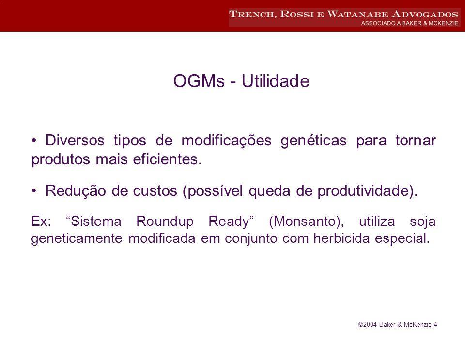 ©2004 Baker & McKenzie 4 OGMs - Utilidade Diversos tipos de modificações genéticas para tornar produtos mais eficientes.