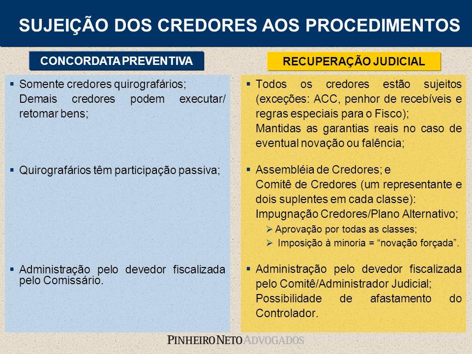 Todos os credores estão sujeitos (exceções: ACC, penhor de recebíveis e regras especiais para o Fisco); Mantidas as garantias reais no caso de eventua