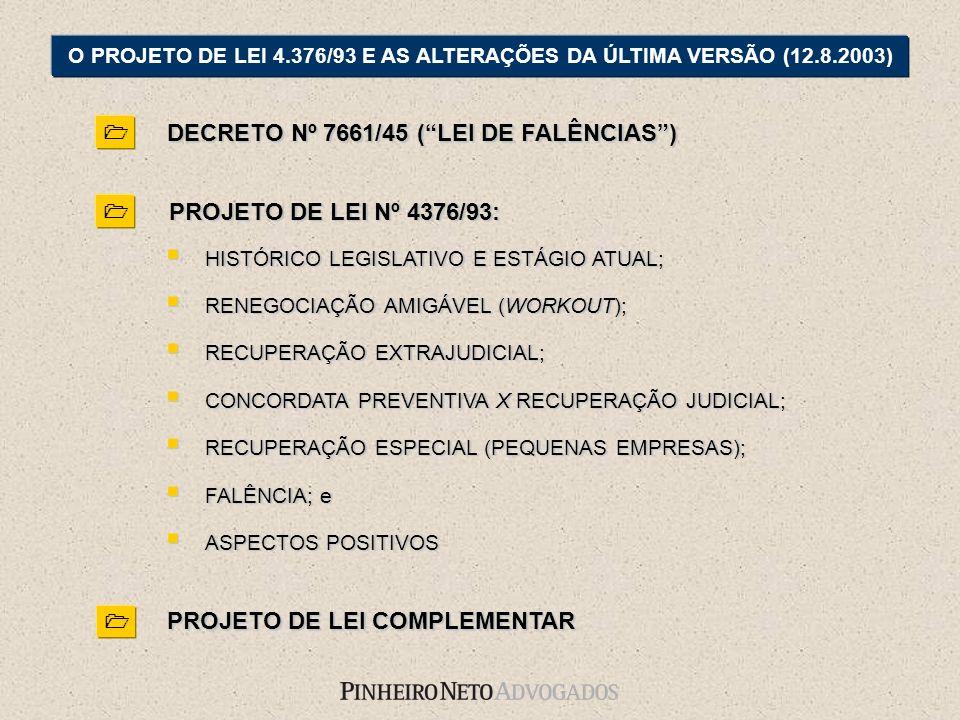 DECRETO Nº 7661/45 (LEI DE FALÊNCIAS) O PROJETO DE LEI 4.376/93 E AS ALTERAÇÕES DA ÚLTIMA VERSÃO (12.8.2003) HISTÓRICO LEGISLATIVO E ESTÁGIO ATUAL; HI