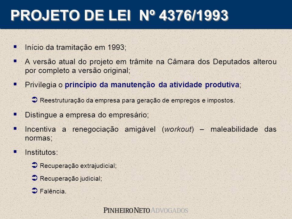 PROJETO DE LEI Nº 4376/1993 Início da tramitação em 1993; A versão atual do projeto em trâmite na Câmara dos Deputados alterou por completo a versão o