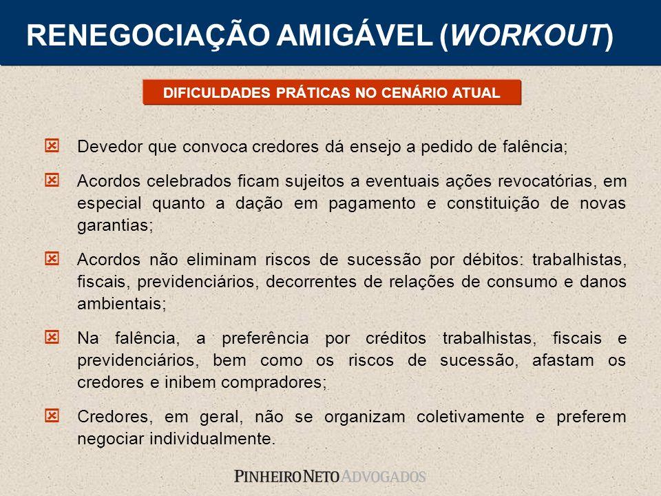 RENEGOCIAÇÃO AMIGÁVEL (WORKOUT) Devedor que convoca credores dá ensejo a pedido de falência; Acordos celebrados ficam sujeitos a eventuais ações revoc