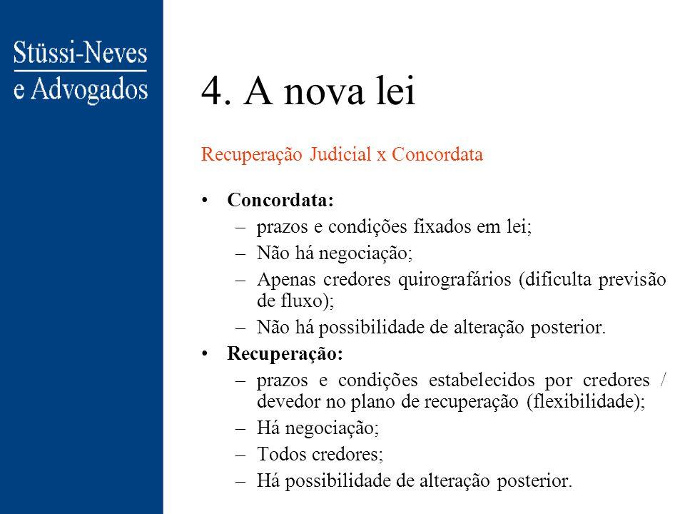 4. A nova lei Antes (art. 102): 1. Crédito tributário 2. Crédito previdenciário 3. Créditos trabalhistas /acidente de trabalho 4. Créditos com direito