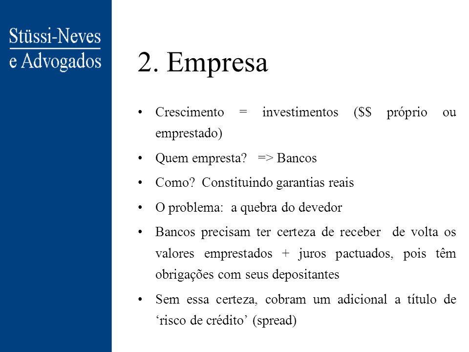 2.Empresa Crescimento = investimentos ($$ próprio ou emprestado) Quem empresta.