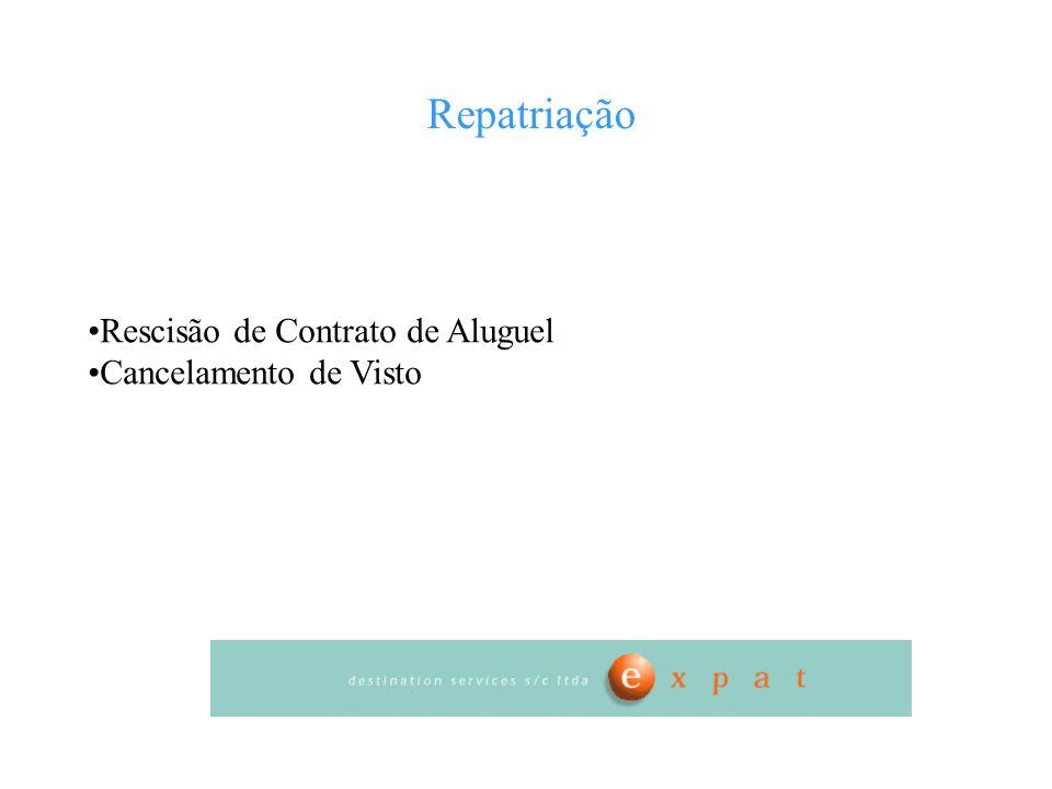 Repatriação Rescisão de Contrato de Aluguel Cancelamento de Visto