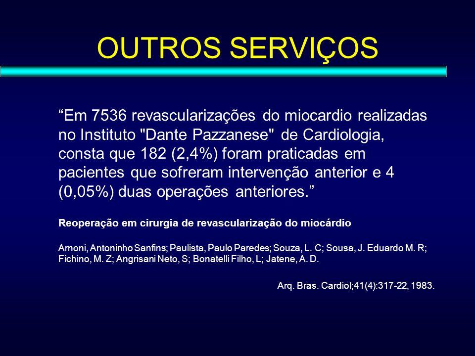 OUTROS SERVIÇOS Em 7536 revascularizações do miocardio realizadas no Instituto