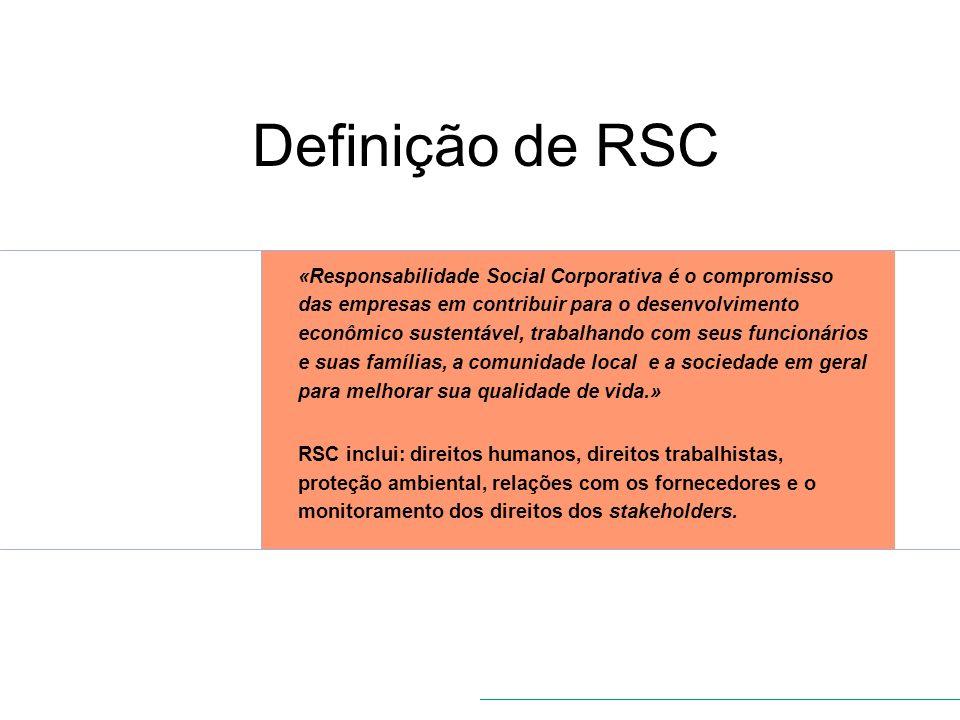 Definição de RSC «Responsabilidade Social Corporativa é o compromisso das empresas em contribuir para o desenvolvimento econômico sustentável, trabalh