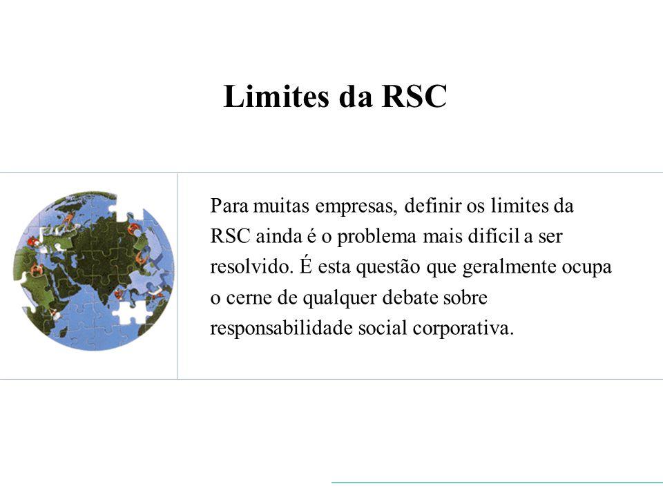Limites da RSC Para muitas empresas, definir os limites da RSC ainda é o problema mais difícil a ser resolvido. É esta questão que geralmente ocupa o