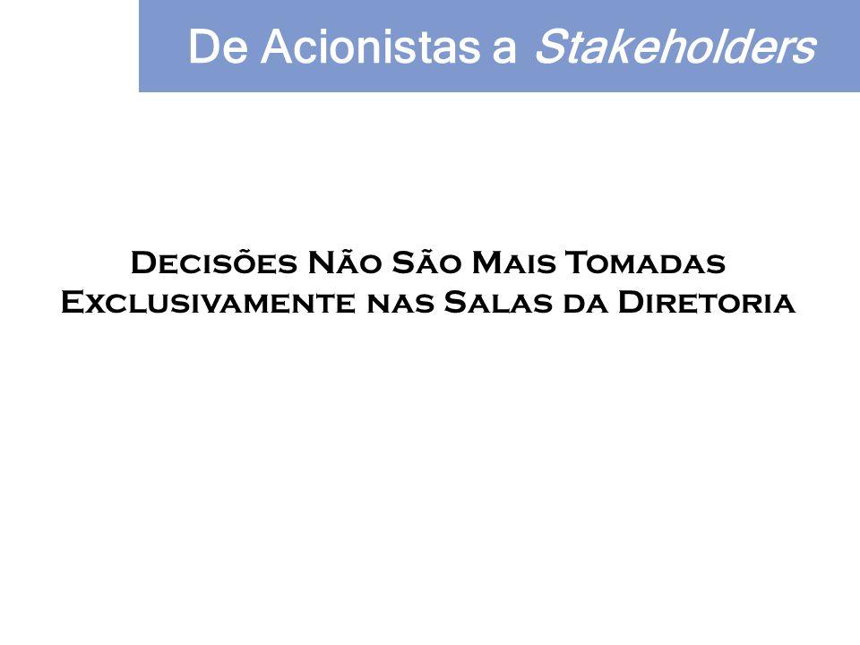 Decisões Não São Mais Tomadas Exclusivamente nas Salas da Diretoria De Acionistas a Stakeholders