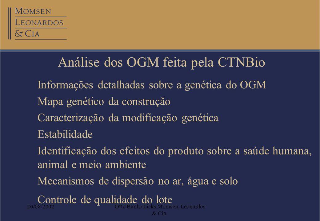 20/08/2002Otto Banho Licks Momsen, Leonardos & Cia. Análise dos OGM feita pela CTNBio Informações detalhadas sobre a genética do OGM Mapa genético da
