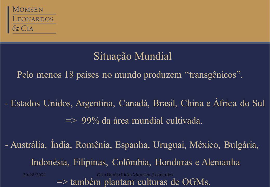 20/08/2002Otto Banho Licks Momsen, Leonardos & Cia. Situação Mundial Pelo menos 18 países no mundo produzem transgênicos. - Estados Unidos, Argentina,