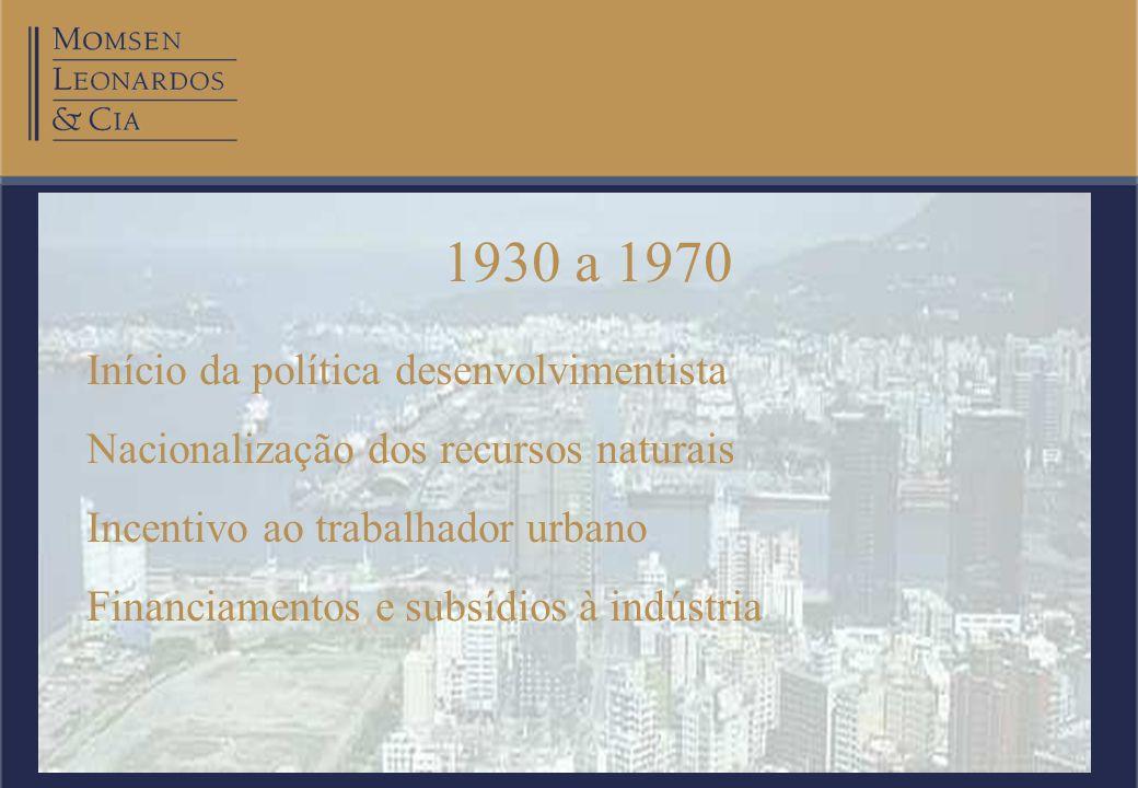 20/08/2002Otto Banho Licks Momsen, Leonardos & Cia. 1930 a 1970 Início da política desenvolvimentista Nacionalização dos recursos naturais Incentivo a