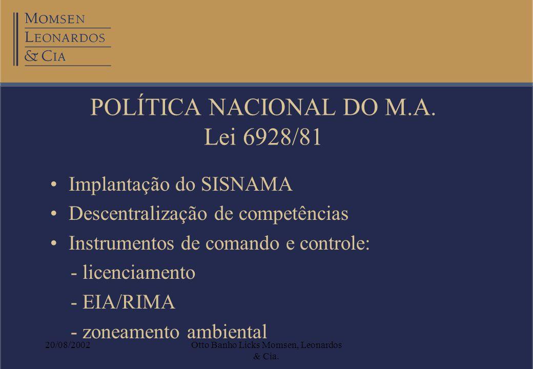 20/08/2002Otto Banho Licks Momsen, Leonardos & Cia. POLÍTICA NACIONAL DO M.A. Lei 6928/81 Implantação do SISNAMA Descentralização de competências Inst