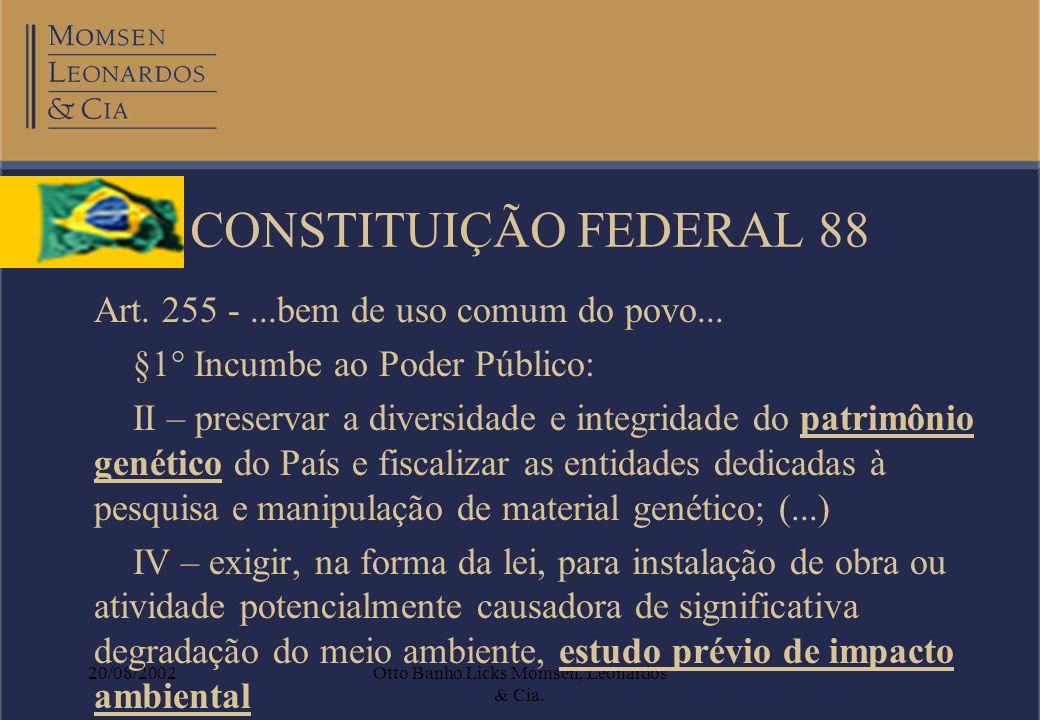 20/08/2002Otto Banho Licks Momsen, Leonardos & Cia. CONSTITUIÇÃO FEDERAL 88 Art. 255 -...bem de uso comum do povo... §1° Incumbe ao Poder Público: II