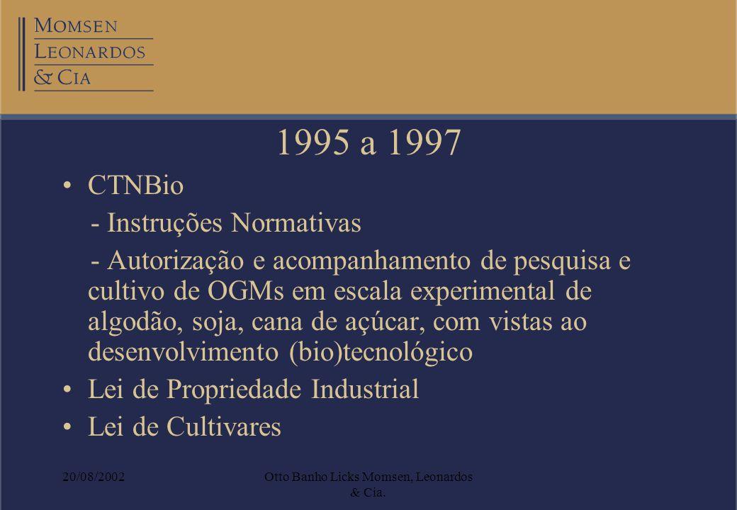 20/08/2002Otto Banho Licks Momsen, Leonardos & Cia. 1995 a 1997 CTNBio - Instruções Normativas - Autorização e acompanhamento de pesquisa e cultivo de