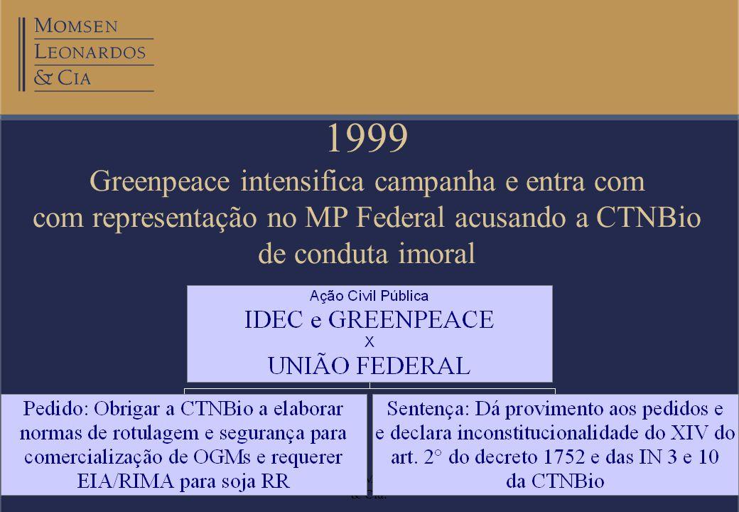 20/08/2002Otto Banho Licks Momsen, Leonardos & Cia. 1999 Greenpeace intensifica campanha e entra com com representação no MP Federal acusando a CTNBio
