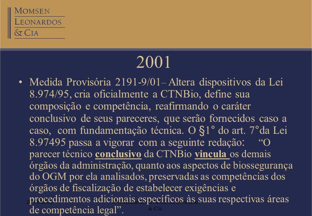 20/08/2002Otto Banho Licks Momsen, Leonardos & Cia. 2001 Medida Provisória 2191-9/01 – Altera dispositivos da Lei 8.974/95, cria oficialmente a CTNBio