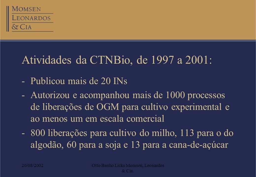 20/08/2002Otto Banho Licks Momsen, Leonardos & Cia. Atividades da CTNBio, de 1997 a 2001: -Publicou mais de 20 INs -Autorizou e acompanhou mais de 100
