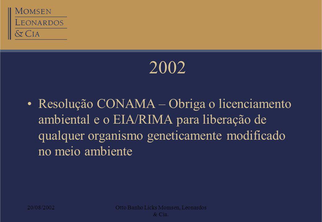 20/08/2002Otto Banho Licks Momsen, Leonardos & Cia. Resolução CONAMA – Obriga o licenciamento ambiental e o EIA/RIMA para liberação de qualquer organi