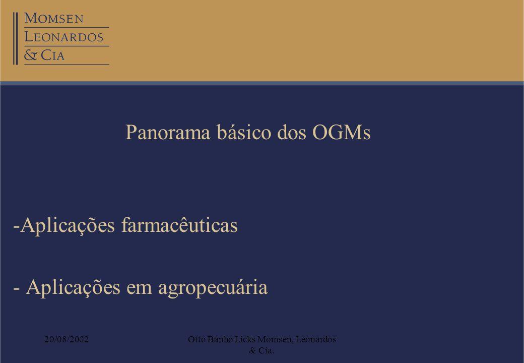 20/08/2002Otto Banho Licks Momsen, Leonardos & Cia. Panorama básico dos OGMs -Aplicações farmacêuticas - Aplicações em agropecuária