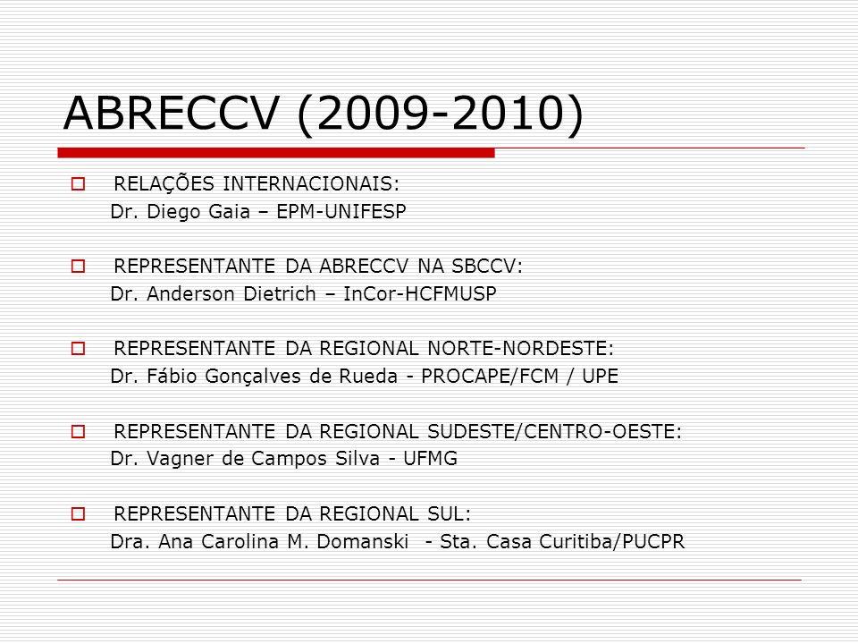 ABRECCV (2009-2010) RELAÇÕES INTERNACIONAIS: Dr. Diego Gaia – EPM-UNIFESP REPRESENTANTE DA ABRECCV NA SBCCV: Dr. Anderson Dietrich – InCor-HCFMUSP REP