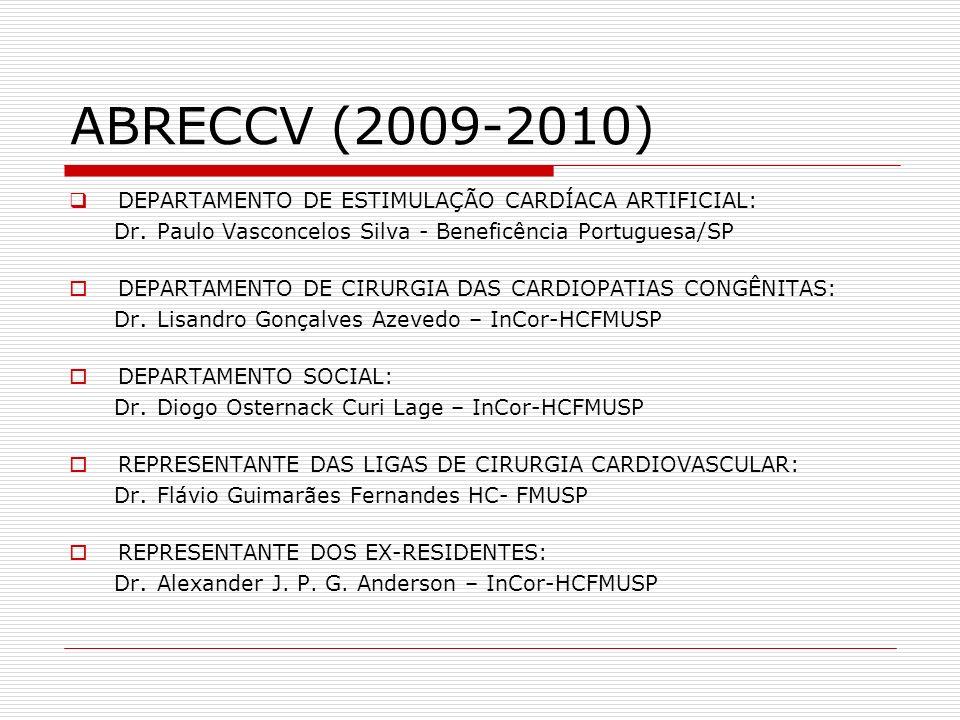 ABRECCV (2009-2010) DEPARTAMENTO DE ESTIMULAÇÃO CARDÍACA ARTIFICIAL: Dr. Paulo Vasconcelos Silva - Beneficência Portuguesa/SP DEPARTAMENTO DE CIRURGIA