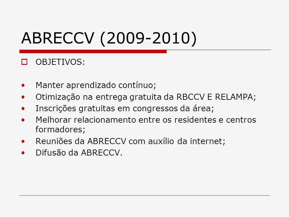 ABRECCV (2009-2010) OBJETIVOS: Manter aprendizado contínuo; Otimização na entrega gratuita da RBCCV E RELAMPA; Inscrições gratuitas em congressos da á