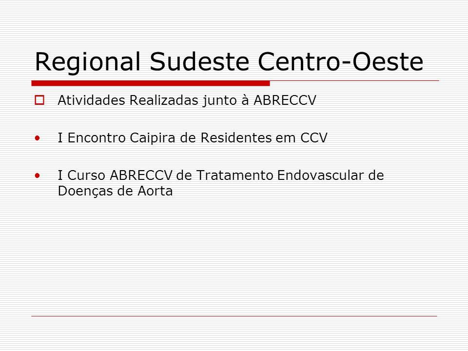 Regional Sudeste Centro-Oeste Atividades Realizadas junto à ABRECCV I Encontro Caipira de Residentes em CCV I Curso ABRECCV de Tratamento Endovascular