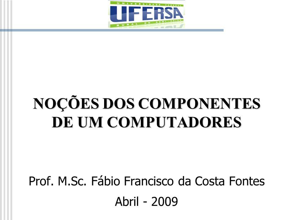 NOÇÕES DOS COMPONENTES DE UM COMPUTADORES Prof. M.Sc. Fábio Francisco da Costa Fontes Abril - 2009