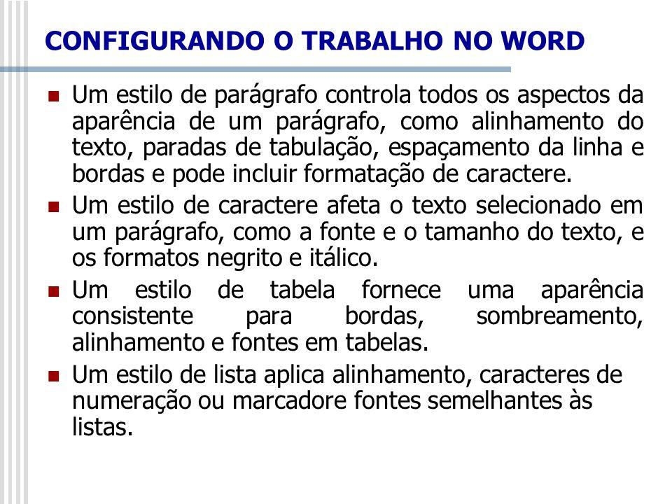 CONFIGURANDO O TRABALHO NO WORD Um estilo de parágrafo controla todos os aspectos da aparência de um parágrafo, como alinhamento do texto, paradas de