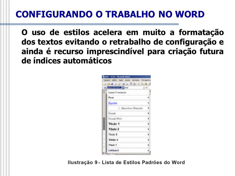 O uso de estilos acelera em muito a formatação dos textos evitando o retrabalho de configuração e ainda é recurso imprescindível para criação futura d