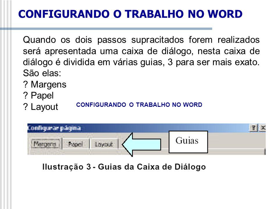 Quando os dois passos supracitados forem realizados será apresentada uma caixa de diálogo, nesta caixa de diálogo é dividida em várias guias, 3 para s