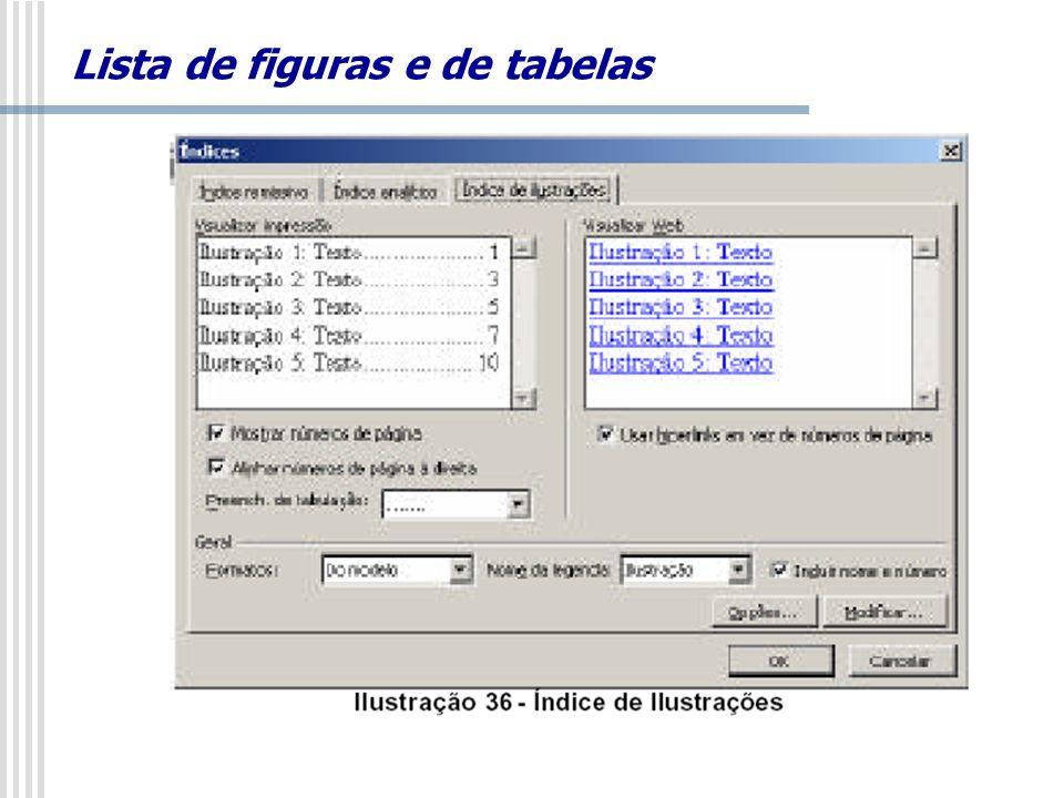 Lista de figuras e de tabelas