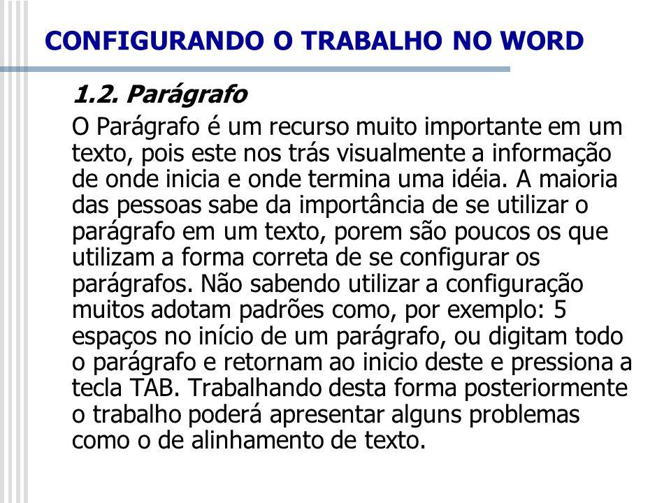 1.2. Parágrafo O Parágrafo é um recurso muito importante em um texto, pois este nos trás visualmente a informação de onde inicia e onde termina uma id
