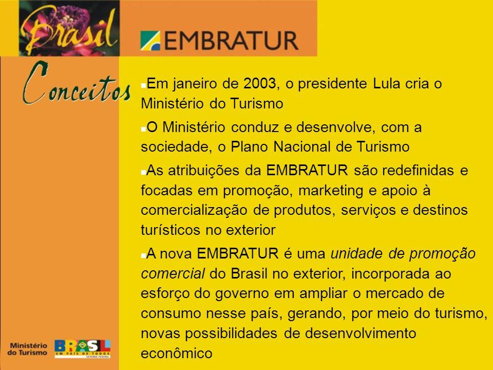 Em janeiro de 2003, o presidente Lula cria o Ministério do Turismo O Ministério conduz e desenvolve, com a sociedade, o Plano Nacional de Turismo As a
