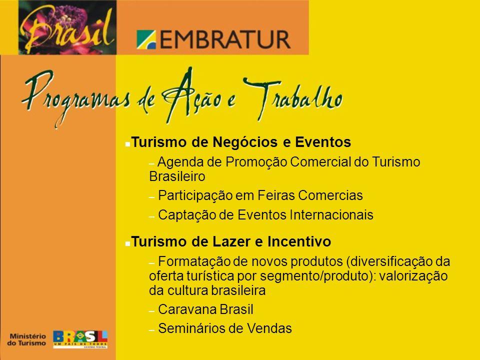 Turismo de Negócios e Eventos – Agenda de Promoção Comercial do Turismo Brasileiro – Participação em Feiras Comercias – Captação de Eventos Internacio