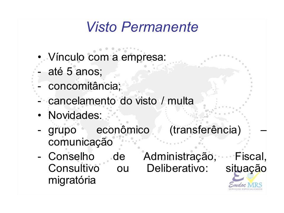 Vínculo com a empresa: -até 5 anos; -concomitância; -cancelamento do visto / multa Novidades: -grupo econômico (transferência) – comunicação -Conselho