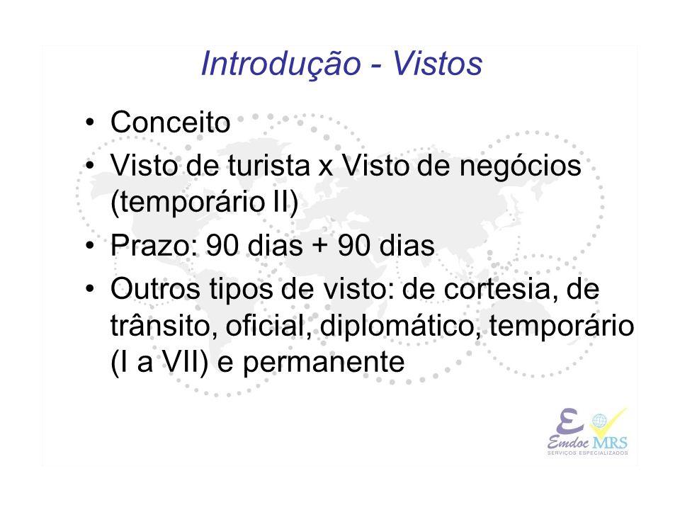 Introdução - Vistos Conceito Visto de turista x Visto de negócios (temporário II) Prazo: 90 dias + 90 dias Outros tipos de visto: de cortesia, de trân