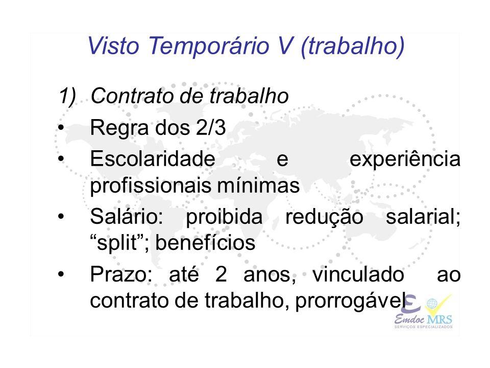 1)Contrato de trabalho Regra dos 2/3 Escolaridade e experiência profissionais mínimas Salário: proibida redução salarial; split; benefícios Prazo: até