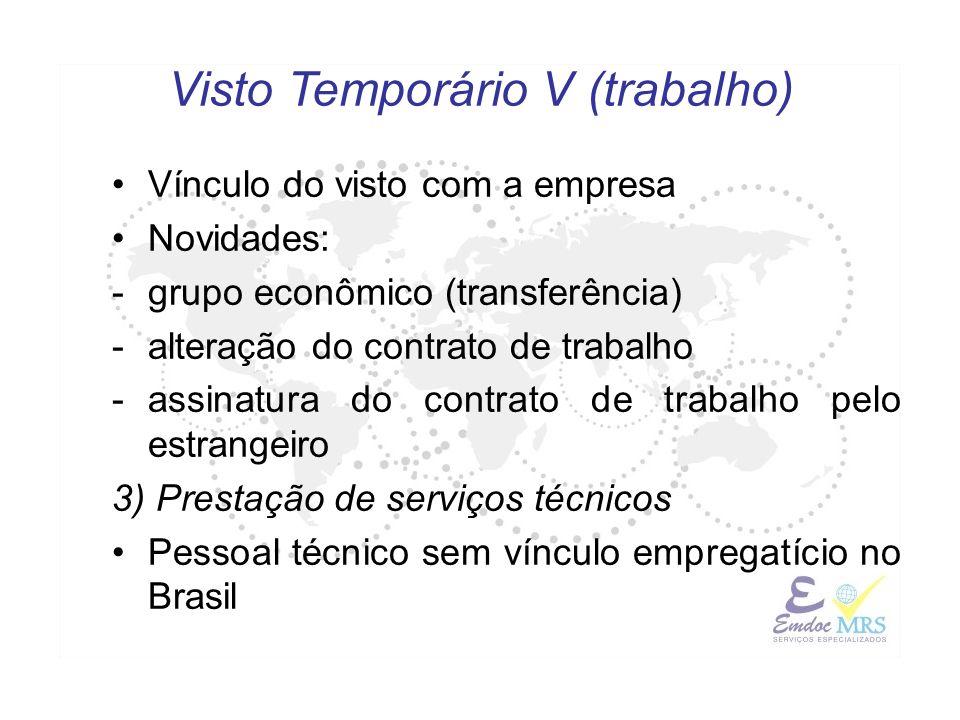 Vínculo do visto com a empresa Novidades: -grupo econômico (transferência) -alteração do contrato de trabalho -assinatura do contrato de trabalho pelo