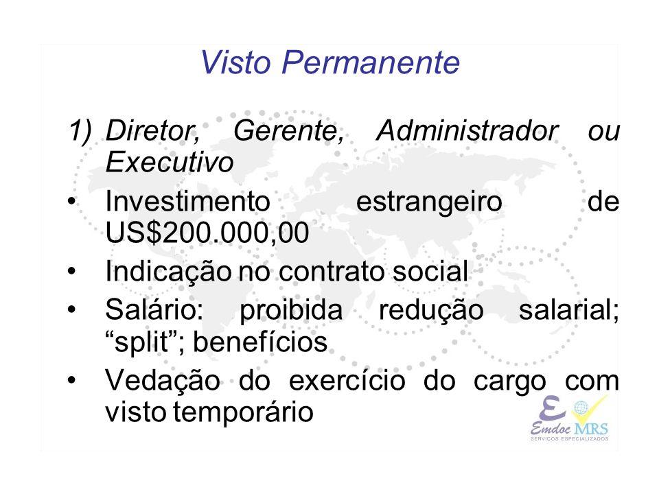 1)Diretor, Gerente, Administrador ou Executivo Investimento estrangeiro de US$200.000,00 Indicação no contrato social Salário: proibida redução salari