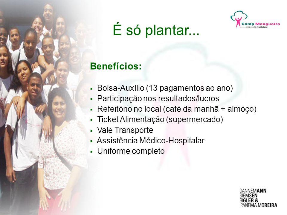 Benefícios: Bolsa-Auxílio (13 pagamentos ao ano) Participação nos resultados/lucros Refeitório no local (café da manhã + almoço) Ticket Alimentação (s