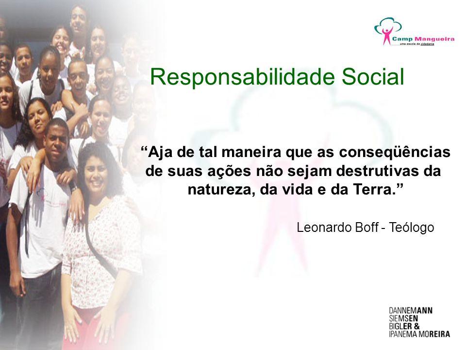 Responsabilidade Social Aja de tal maneira que as conseqüências de suas ações não sejam destrutivas da natureza, da vida e da Terra. Leonardo Boff - T