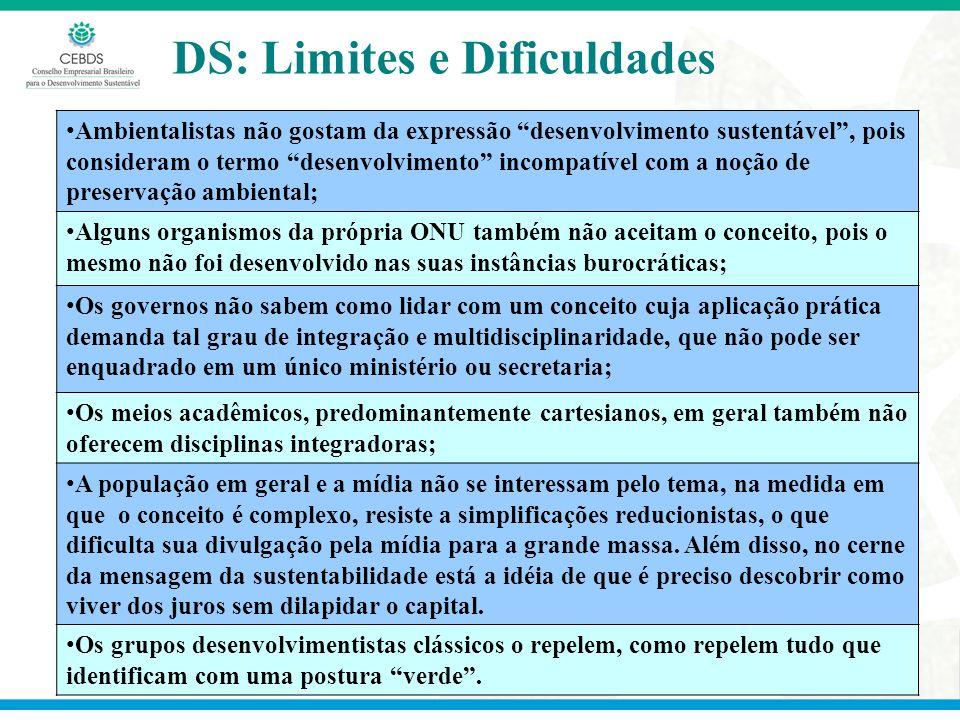 DS: Limites e Dificuldades Ambientalistas não gostam da expressão desenvolvimento sustentável, pois consideram o termo desenvolvimento incompatível co