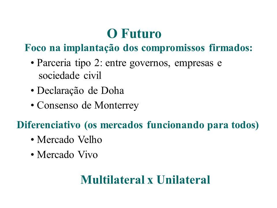 Foco na implantação dos compromissos firmados: Parceria tipo 2: entre governos, empresas e sociedade civil Declaração de Doha Consenso de Monterrey Di