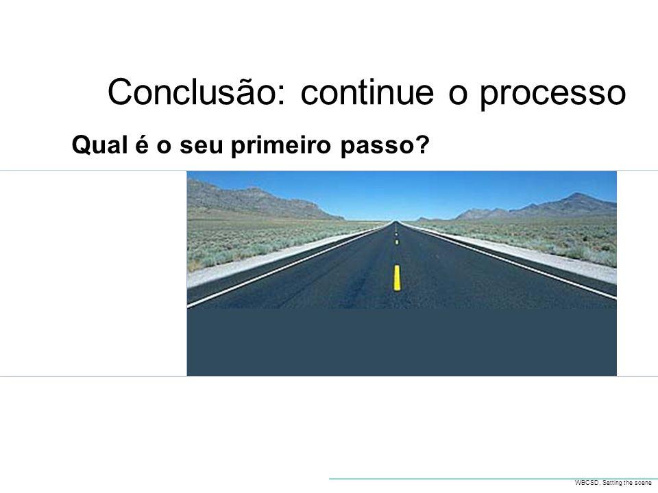 Conclusão: continue o processo WBCSD, Setting the scene Qual é o seu primeiro passo?