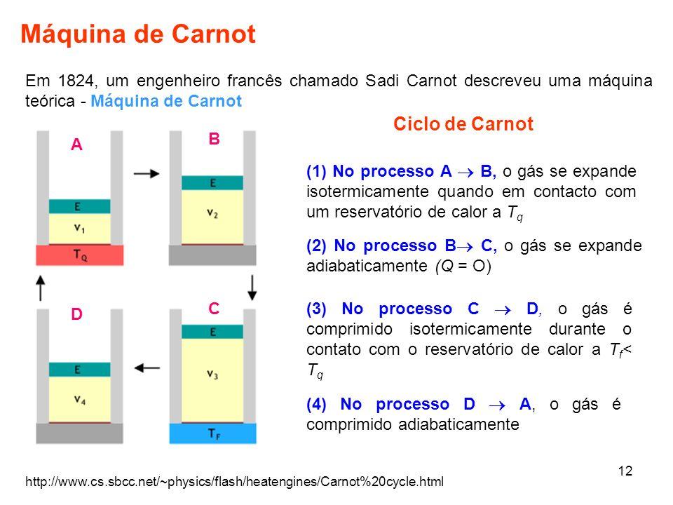 12 Máquina de Carnot Em 1824, um engenheiro francês chamado Sadi Carnot descreveu uma máquina teórica - Máquina de Carnot http://www.cs.sbcc.net/~phys