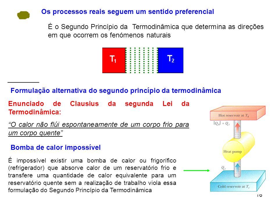 16 Os processos reais seguem um sentido preferencial É o Segundo Princípio da Termodinâmica que determina as direções em que ocorrem os fenómenos natu