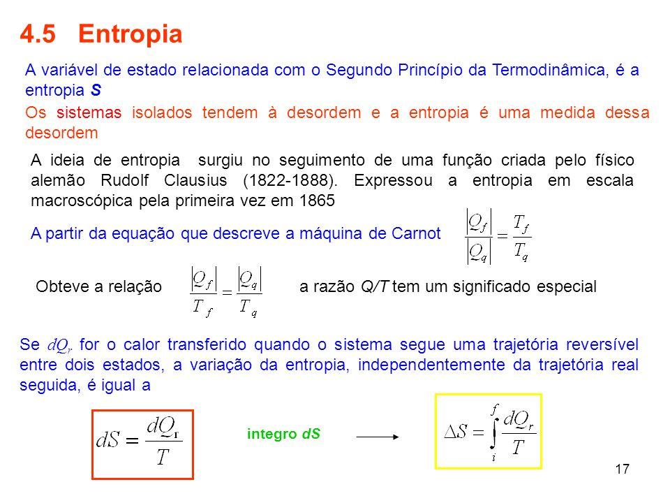 17 4.5 Entropia A variável de estado relacionada com o Segundo Princípio da Termodinâmica, é a entropia S A ideia de entropia surgiu no seguimento de