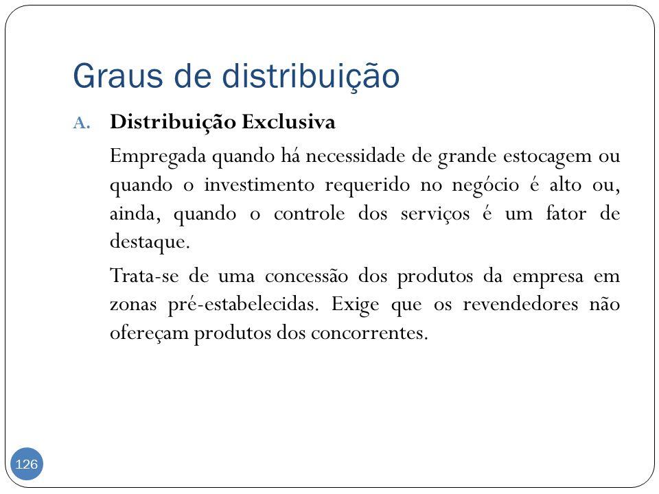 Graus de distribuição A. Distribuição Exclusiva Empregada quando há necessidade de grande estocagem ou quando o investimento requerido no negócio é al